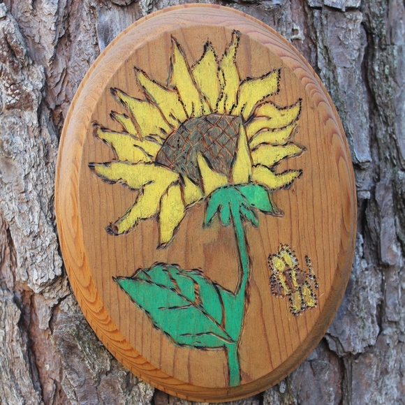 Vintage Wall Art Hand Painted Sunflower Cut Out Wood Plaque